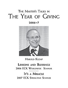 The Master's Talks in The Year of Giving—2006–7